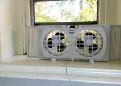 COVID ventilation fan in a classroom at The Lewis School